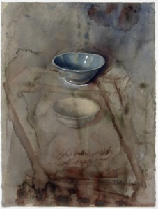 'Two Malaccan bowls', watercolour, 1997, 76 x 56 cm.