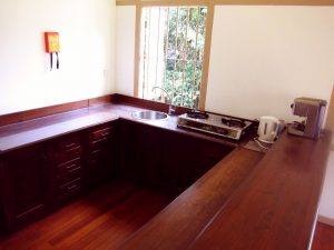 Wooden kitchen counters; kitchen equipped with fridge, two burner stove and appliances