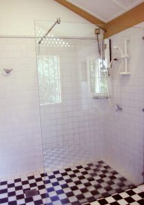 Glass walled shower stall
