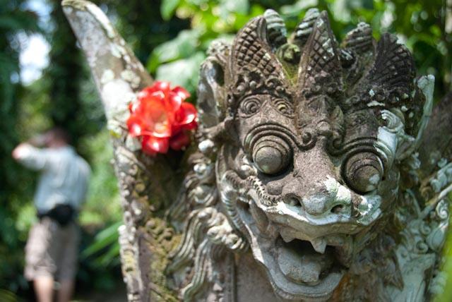 One of the Balinese lions guarding the entrance of the Taman Sari at Rimbun Dahan. Photo: Kiran Nagesh.