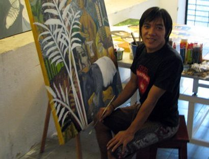 Indonesian artist Oceu Apristawijaya in his studio at Rimbun Dahan.