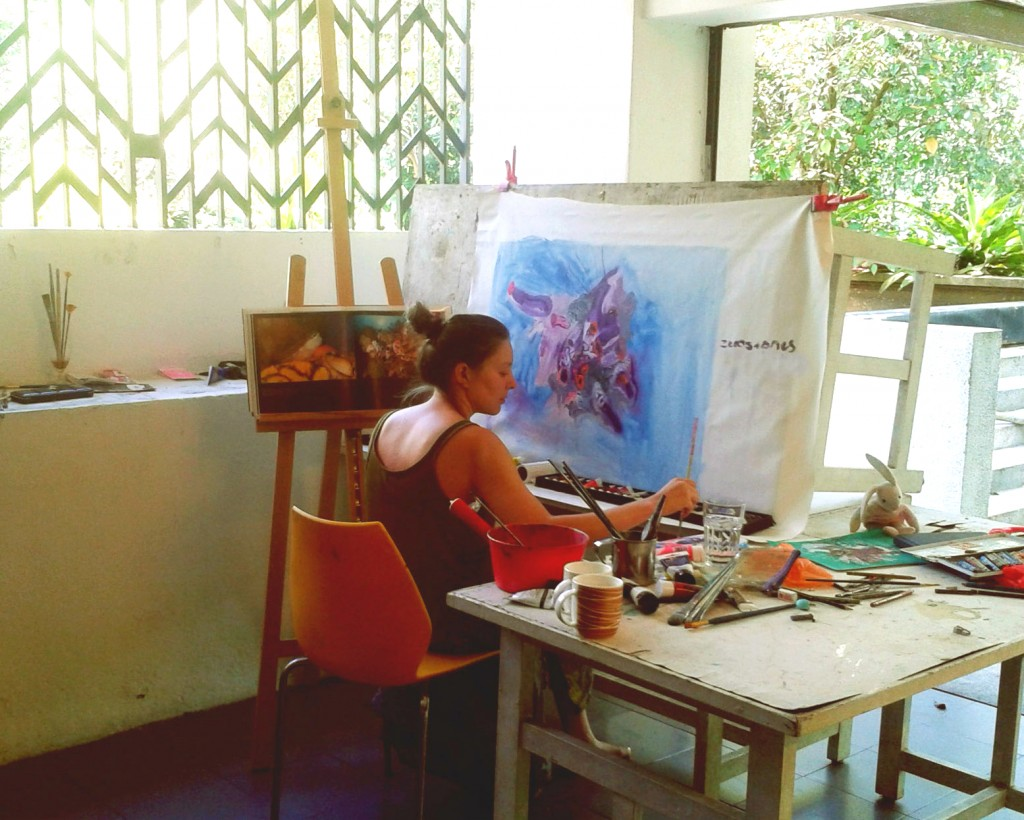Rhiannon Rebecca Salisbury (UK) with a makeshift easel in her studio, April 2015