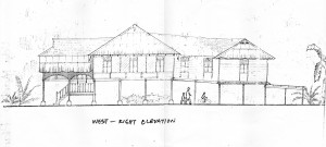 West - Right elevation of Rumah Uda Manap