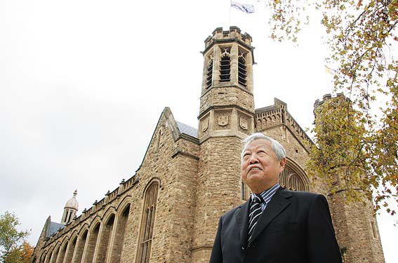 Architect and former University of Adelaide student Hijjas Kasturi outside Bonython Hall, one of the University's many heritage buildings Photo by David Ellis, from The Adelaidean website of the University of Adelaide.