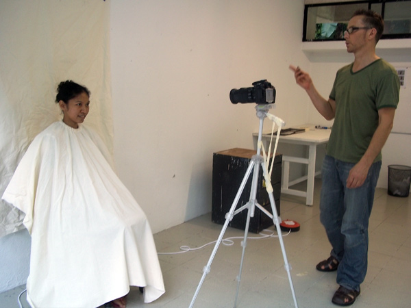 Anthony Pelchen in his studio at Rimbun Dahan, photographing Shima, who lives and works at Rimbun Dahan.