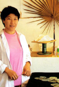 Jasmine in her studio at Rimbun Dahan.