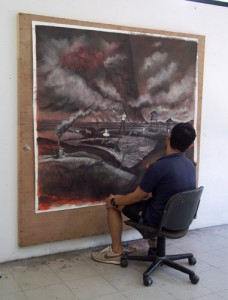 Ilham Fadhli Shaimy in his studio at Rimbun Dahan at work on a mixed-media on paper artwork for his contribution to Art for Nature 2010 'SURVIVAL'.