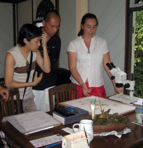 Lauren (right) talking to visitors at her studio.