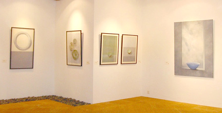Works by Margot Wiburd hanging in the Underground Gallery at Rimbun Dahan.