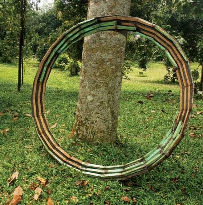 Canggai. 2014. Wood, metal, copper & charcoal. 200 cm (diameter).