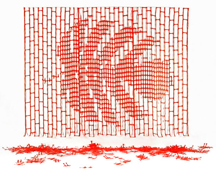 Tim Craker, 'Botanical Data File #3'. Plastic safety fencing, hand-cut. 205 x 300 cm. 2008. Now in the permanent collection at Rimbun Dahan.