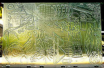 Art glass panels designed by Orang Asli in collaboration with Gary Proctor.