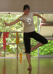 Above: Dance Day participant Cecilia Yong trying new movement in Rathimala's workshop.