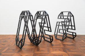 OOOSSS, 2016, 80x50 cm each, painted wood & hinges,