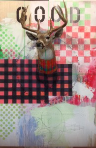 Good, taxidermy deer head, mixed media painting on board, Bruce Pashak