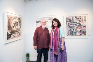 Si Jie Loo with her mentor Malaysia's Chinese Ink Painting Master Dr. Cheah Thien Soong.