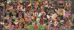 DELIGHT, 2016, 78cm x 183cm, Acrylic, collage, glitters, rhinestones & batik stretched on wood