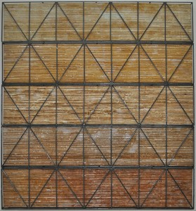 Tales of Lines, 2015, corrosion patina on canvas and steel, 153 x 153cm