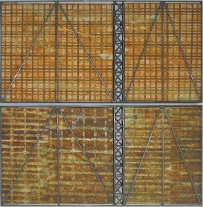 Tentang, 2015, corrosion patina on canvas and steel, 153 x 76.2cm (diptych)