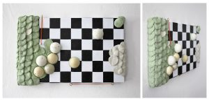 Hapto Tablets 1.0; 4/Series of 5, 2016; 34 x 21 x 5.5cm; Wood, shelf liner, dyed grout, hooks, glue, thread
