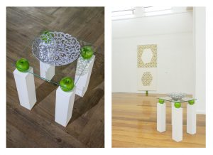 Granny Smith's Table; 2015; 90 x 130 x 90cm; Wood, glass plate, fruit basket, spray paints, 4 artificial apples, Granny Smith's stickers