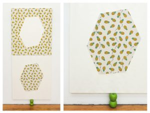 Apples & Pineapples; 2015; 90 x 223 x 8.5; Printed fabric, acrylic paint, artificial apples, permanent marker