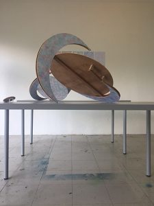Bulan, paper collage on wood