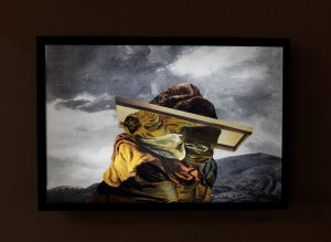 Crossing the Rubicon, 2015, collage on backlit film, lightbox, 20 x 30 in