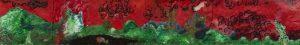 Nopersonsland / Shitty paradise with fishy. 2015. 22 cm X 136 cm. acrylic, thread, blanket, linen.