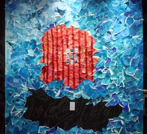 They Expected Her to Bleed - Instead, She Blued, 2015, Mixed media wall installation
