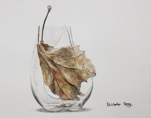 Autumn leaf in glass, watercolour on paper, 2016