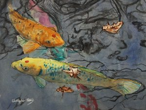 Colourful fish in crowded pond, watercolour on paper, 2016