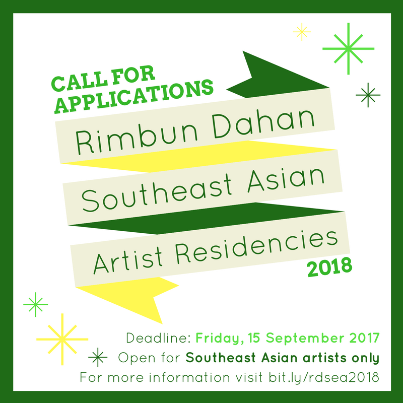 Open call poster for Rimbun Dahan Southeast Asian Residency 2018