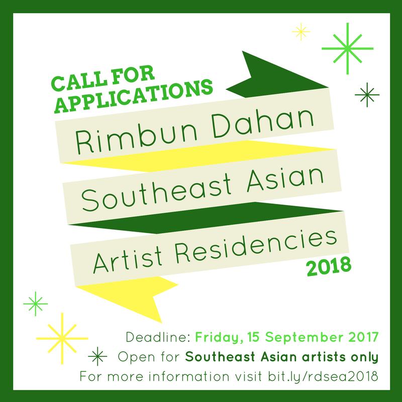 Open call poster for Rimbun Dahan Southeast Asian Residency 2018