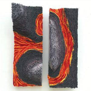 Lavaflows, 2016, acrylic felt, cardboard, paper and acrylic paint 2 x 25 x 70cm